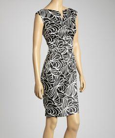 Look at this #zulilyfind! Black & White Abstract Cap-Sleeve Dress - Women #zulilyfinds