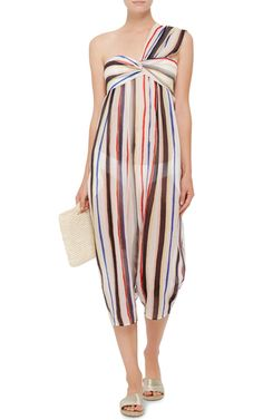 Venice Multicolor Striped One Shouldered Jumpsuit by MARYSIA SWIM Now Available on Moda Operandi
