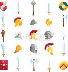 Vector Art : Flat medieval icons 2