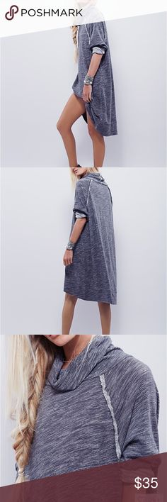 """Free People Terri Cacoon Pullover Sweater dress or """"cocoon pullover"""" in dark heathered gray. First photos are of the pullover in blue, actual color is of the last photos--dark heathered gray. One size, oversized look, would fit XS-L. Can be worn as a casual dress, with or without leggings, cover up to and from yoga or swimming, or anytime you need a long casual sweater to throw on. Oh, and it pockets! Free People Sweaters"""