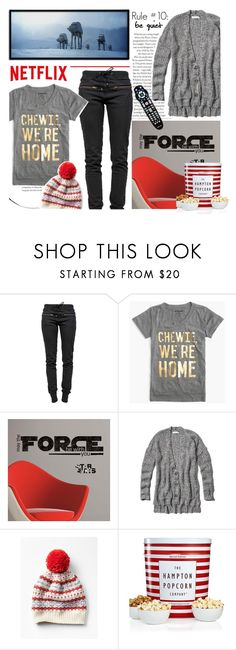"""""""What to Wear: Netflix Binge/TS"""" by parkersam76 ❤ liked on Polyvore featuring Ragdoll, J.Crew, RoomMates Decor, Abercrombie & Fitch, The Hampton Popcorn Company, WhatToWear and polyvoreeditorial"""
