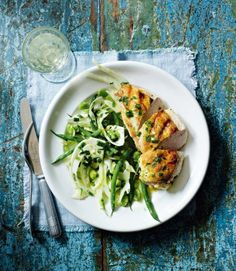 Warm fennel and beans with griddled chicken and tarragon butter