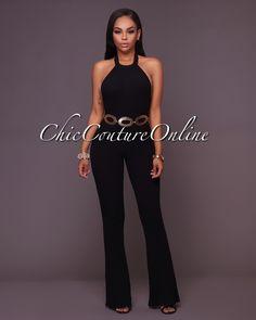 a9466e155dd1 Chic Couture Online - Hudson Black Low Back Halter Ribbed Jumpsuit
