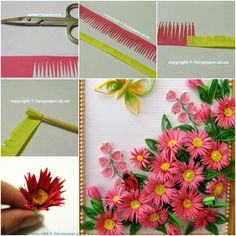 How to DIY Quilling Flower Framed Wall Art tutorial and instruction. Follow us: www.facebook.com/fabartdiy