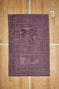 "5' 3"" x 7' 7"" Purple Checkered Hand Loom Man-Made Area Rug Modern NEW SALE"