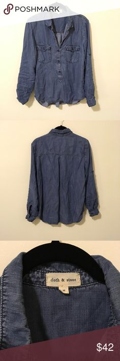 Anthropologie Cloth & Stone Denim Button Down Anthro Cloth and Stone Blouse with a Button Down front and long sleeves that can Button up also! Super soft and is a size medium! Anthropologie Tops Button Down Shirts