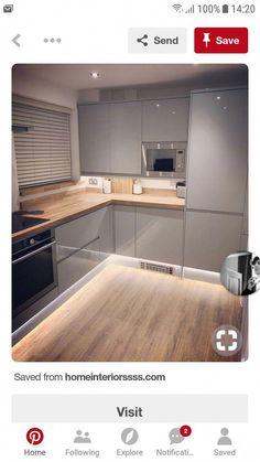Cocinas grises #cocinasAbiertas Kitchen Room Design, Kitchen Cabinet Design, Kitchen Cabinetry, Modern Kitchen Design, Home Decor Kitchen, Interior Design Kitchen, Grey Kitchens, Home Kitchens, White Kitchen Inspiration