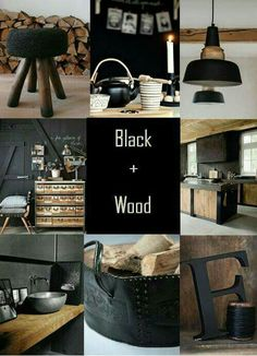 I already have several black + wood elements around my home, so I'm planning on elaborating on that. Industrial House, Industrial Interiors, Modern Industrial Decor, Kitchen Industrial, Vintage Industrial Furniture, Industrial Farmhouse, Farmhouse Decor, Scandinavian Modern, Küchen Design