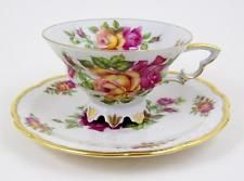 Vintage Tea Cup & Saucer Pink & Yellow Roses Ornate Foot and Handle…