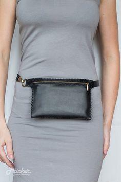 Women Black Leather Fanny Pack PBFP-05/Hip Bag/ by PrickerWorkshop