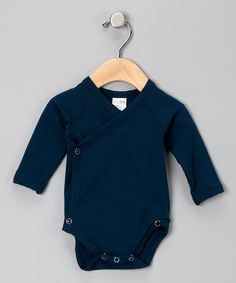 Love this Navy Blue Wrap Bodysuit - Infant on #zulily! #zulilyfinds