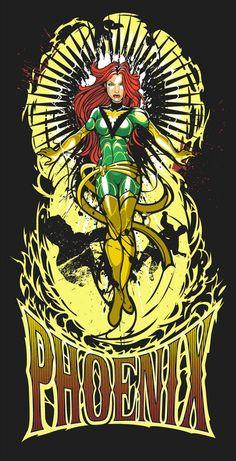 Phoenix - Sho x Mighty Fine x Marvel  Tee / Art Print @ http://www.welovefine.com/lmfa.php?m=artist_artist=61297