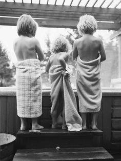 kids wrapped up in towels