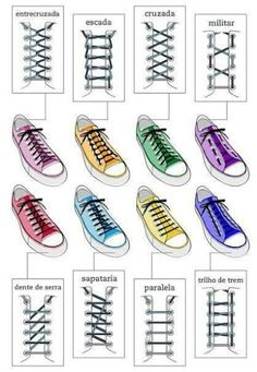 Different ways to lace shoes.