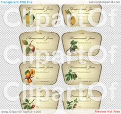 Royalty-Free (RF) Clipart Illustration of a Digital Collage Of Crown And Fruit On Homemade Jam Labels by Eugene