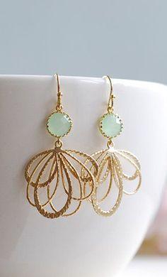 Gold Feather Pendant Mint Glass Jewel Earrings