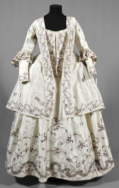 "Jacket, skirt and bodice, Sweden, 1770s. White silk embroidered with floral motifs in purple silk an dsilver thread. Beloged to ""Aunt Ulla"" Ulrica Christina Cronstedt (1756-1841)."