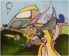 """Silvie Kreiselová  """"Výlet """" Acryl 45x55."""