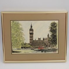 Parliament Square and Big Ben London England Lithograph Signed Guy Magnus Framed