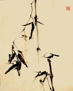 Sumi E Painting, Chinese Painting, Art Informel, Japanese Watercolor, Asian Style, Watercolor Flowers, Original Paintings, Oriental, Hand Painted