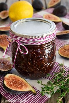 This Small Batch Fig Jam recipe is easy and perfectly sweet. A wonderful way to cook with in-season figs. Fig Recipes, Jelly Recipes, Canning Recipes, Freezer Recipes, Fig Jam Canning Recipe, Drink Recipes, Dinner Recipes, Dessert Recipes, Sweets