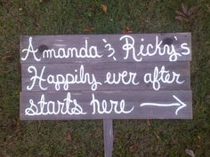LARGE Happily Ever After Starts Here Wedding Sign With Names Outdoor Wedding Decorations Hand Painted Signs. Rustic Wedding Signs Wooden. $99.00, via Etsy.