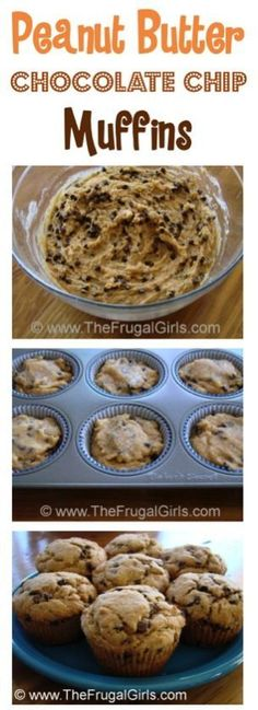Peanut Butter Chocolate Chip Muffins Recipe! ~ from http://TheFrugalGirls.com - you'll LOVE this easy, delicious breakfast muffin! #recipes #thefrugalgirls