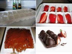CHOCOLATE, STRAWBERRIES AND AN ICE CUBE TRAY Spray an ice cube tray with a small amount of oil. Slice strawberries and place half in each hole of tray. Melt dark chocolate bars or chips on your stove top in a small cooking pot. (3 large bars for each pint of strawberries) Pour over strawberries. Cool in fridge for 1 hour. Invert tray and pop out! CREDIT: PINTEREST — with Charity PitbytchShiner Champ, Angela Polk and Keely Nichole Bagley.