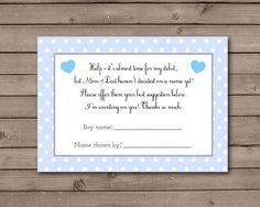 Boy Help Choose Baby's Name Cards Instant by TrishsDesignStudio, $4.00