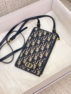 Christian Dior oblique embroidered phone shoulder bag