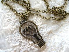 1 Light Bulb Necklace Vintage Style Edison by PeculiarCollective