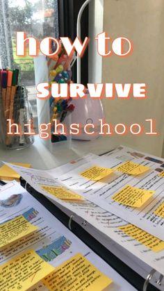 High School Hacks, High School Life, Life Hacks For School, School Study Tips, School Tips, School Stuff, School Checklist, School Essentials, High School Organization