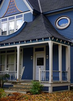 Blue Victorian House with Front Porch in Vermont - and more front porches House Front Porch, Front Stoop, Screened In Porch, Front Porches, Porch Appeal, Curb Appeal, Town And Country, Country Living, White Porch