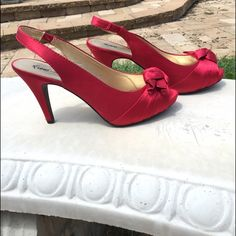 Fioni Red Heels Worn maybe one time! In great condition, no footprints or anything in them. Perfect for dressing up a little black dress :) FIONI Clothing Shoes Heels