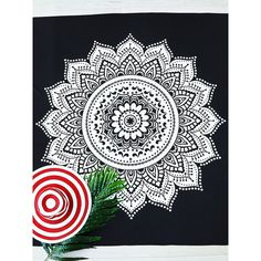 Black And White Lotus Print Beach Blanket (370 MXN) ❤ liked on Polyvore featuring home, bed & bath, bedding, blankets, black blanket, vintage blanket, black white blanket, black and white bedding and black and white blanket