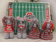 Ohio State, OSU, Buckeye, O-H-I-O, Scarlet and Grey Football Fans   MumseysMouseHouse - Dolls & Miniatures on ArtFire