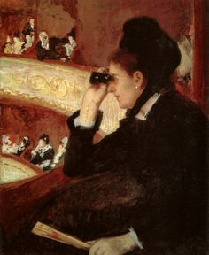 cavetocanvas:  In the Loge: Woman in Black at the Opera -Mary Cassatt, 1877-78 Things to think about when studying: How is this woman breaking the normal conventions of what women should be doing? Where is her gaze directed? How does Cassatt play with the male gaze vs. female gaze?