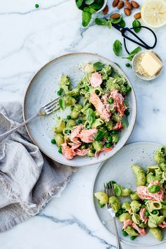 Pea, mint and poached salmon pasta - The Brick Kitchen
