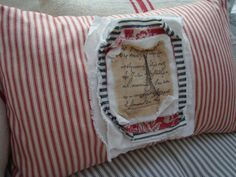 PaRiS French ReD Ticking Cottage Shabby Chic by Sassycatcreations, $42.00
