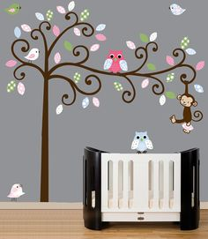 Childrens swirl tree wall decal  patterned owls by couturedecals, $99.00