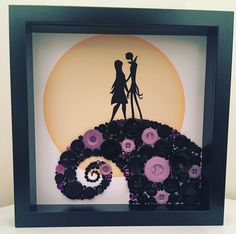 Jack & Sally - Nightmare Before Christmas Button Art Picture. Alternative Valentine's gift ❤️ Handmade by Button People available at https://www.etsy.com/shop/ButtonPeopleShop