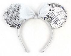 NWOT Disneyland Mini Mouse Silver Sequin Ears Headband www.TheConsignmentBag.com All items ship Worldwide. New items arrive Daily!