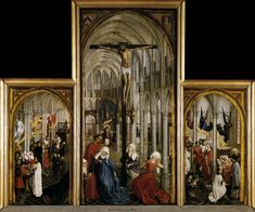 Roger Van Der Weyden, The Seven Sacraments altarpiece, 1439-43, oil on panel.  -----Depicts stages of Christian life. (coming to church/ being baptized/ confession of sins)
