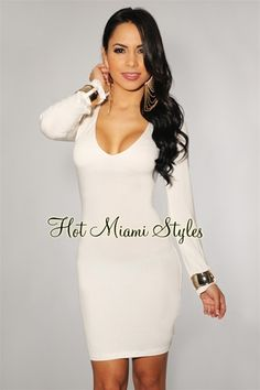 Ivory Gold Cuffs Long Sleeves Dress, cute in a different color.