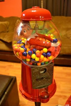 Elf on The Shelf Ideas  Buddy In the gum ball machine!