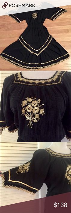 "To Die For Vintage Black & Gold Dress, S/M Vintage dress in excellent condition, amazing details, elastic waist, will best for a small or medium size, Bust will best fit a 32-36 B/C/D, waist measures 22"" unstreched, 28"" maximum comfortable stretch. 38"" long Vintage Dresses Midi"