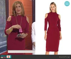 Hoda's red cold-shoulder mock neck dress on Today. Outfit Details: https://wornontv.net/79847/ #Today