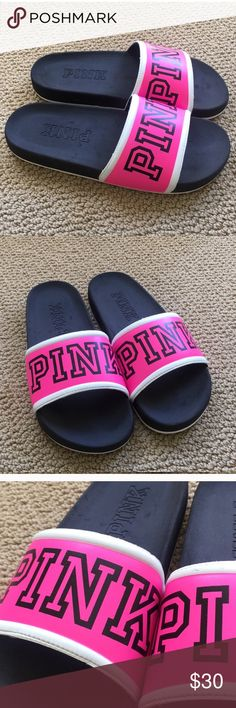 VS Pink Victoria's Secret Sandals Super sought after! Sold out right away!!  Never worn, took tags off an couldn't return. Feel free to make me an offer, but I paid full price for them, so I'm trying to make most of my money back ☺️ PINK Victoria's Secret Shoes Sandals