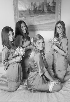The bride and bridesmaids in matching silk getting ready robes- Mitheo Events | Concept Events Styling