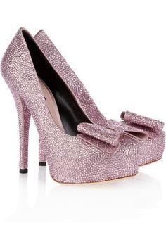Crystal-embellished satin pumps by Dolce & Gabbana